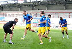 Bristol Rovers coach Steve Yates puts the players through their paces - Mandatory byline: Neil Brookman/JMP - 07966 386802 - 03/10/2015 - FOOTBALL - Globe Arena - Morecambe, England - Morecambe FC v Bristol Rovers - Sky Bet League Two