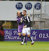 Dundee&rsquo;s Kane Hemmings celebrates with keeper Scott Bain after completing his hat-trick - Dundee v Hamilton, Ladbrokes Premiership at Dens Park<br /> <br />  - &copy; David Young - www.davidyoungphoto.co.uk - email: davidyoungphoto@gmail.com