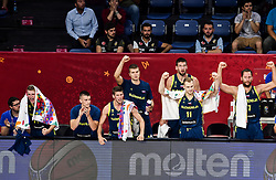 Luka Doncic of Slovenia, Matic Rebec of Slovenia, Aleksej Nikolic of Slovenia, Edo Muric of Slovenia, Gasper Vidmar of Slovenia, Jaka Blazic of Slovenia, Sasa Zagorac of Slovenia react during basketball match between National Teams of Slovenia and Spain at Day 15 in Semifinal of the FIBA EuroBasket 2017 at Sinan Erdem Dome in Istanbul, Turkey on September 14, 2017. Photo by Vid Ponikvar / Sportida