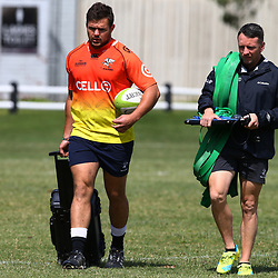 DURBAN, SOUTH AFRICA - OCTOBER 17: Franco Marais with Johan Pretorius Head Strength & Conditioning Coach of the Cell C Sharks during the Cell C Sharks training session at Growthpoint Kings Park on October 17, 2017 in Durban, South Africa. (Photo by Steve Haag/Gallo Images)