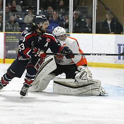 COCHRANE, ON - MAY 2: Austin Whelan #53 of the Cochrane Crunch  follows the play during the second period on May 2, 2019 at Tim Horton Events Centre in Cochrane, Ontario, Canada.<br /> (Photo by Tim Bates / OJHL Images)