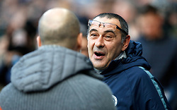 Chelsea manager Maurizio Sarri (right) and Manchester City manager Pep Guardiola ahead of kick-off in the Premier League match at the Etihad Stadium, Manchester.