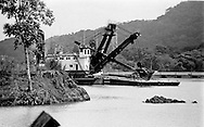 Dredger at the Culebra Cut in the Panama Canal.