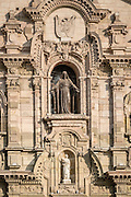 Architectural detail and statues on facade of Catedral de Lima, the Roman Catholic cathedral on Plaza Mayor in Lima, Peru.