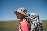 Erna, from the United States, smiles with just a couple kilometers to go before reaching the destination for the day: Carrion de Los Condes. (June 17, 2018)<br /> <br /> DAY 21: BOADILLA DEL CAMINO TO CARRION DE LOS CONDES -- 24 KM