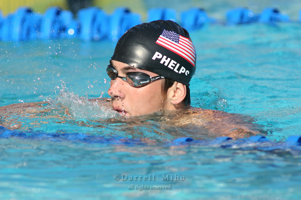 August 2, 2005; Irvine, CA, USA; .Michael Phelps after finishing the 200IM at the Mutual of Omaha Duel in the Pool swim meet between Team USA and Australia Telstra Dolphins at the Woollett Aquatic Center in Irvine, California.  Phelps finished first with a time of 1:56.93..Mandatory Credit: Photo by Darrell Miho.© Copyright Darrell Miho