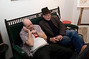 GAVIN TURK; RICHARD STRANGE, Preview evening for the London Art Fair. Business Design Centre. Islington. London. 13 January 2009.  *** Local Caption *** -DO NOT ARCHIVE -Copyright Photograph by Dafydd Jones. 248 Clapham Rd. London SW9 0PZ. Tel 0207 820 0771. www.dafjones.com<br /> GAVIN TURK; RICHARD STRANGE, Preview evening for the London Art Fair. Business Design Centre. Islington. London. 13 January 2009.