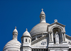 The Basilica of the Sacred Heart is at the top of Montmartre, the highest point in Paris.