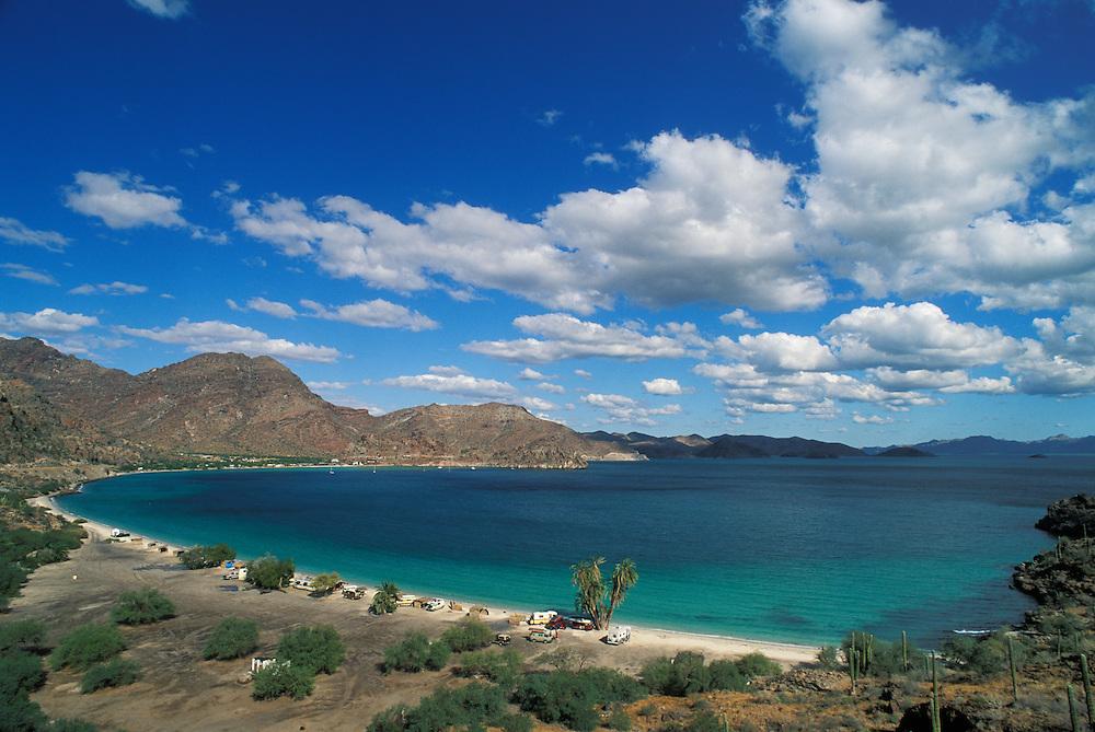 Bahia Concepción and RV's camped on Playa Coyote, Sea of Cortez, Baja California Sur, Mexico.