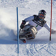 Jong Seork Park, Korea, in action during the Men's Slalom Sitting, Adaptive Slalom competition at Coronet Peak, New Zealand during the Winter Games. Queenstown, New Zealand, 25th August 2011. Photo Tim Clayton
