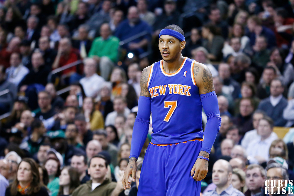 24 January 2013: New York Knicks small forward Carmelo Anthony (7) is seen during the New York Knicks 89-86 victory over the  at the TD Garden, Boston, Massachusetts, USA.
