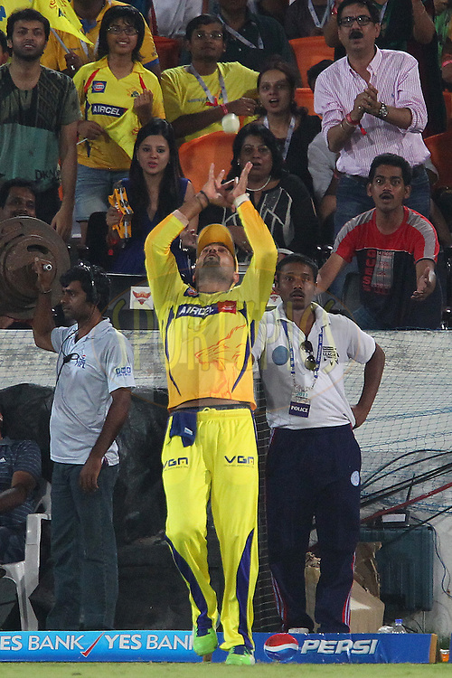 Murali Vijay takes the catch but the momentum takes him over the boundary so he throws the ball back into play during match 54 of the Pepsi Indian Premier League between The Sunrisers Hyderabad and Chennai Superkings held at the Rajiv Gandhi International  Stadium, Hyderabad  on the 8th May 2013..Photo by Ron Gaunt-IPL-SPORTZPICS ..Use of this image is subject to the terms and conditions as outlined by the BCCI. These terms can be found by following this link:..http://www.sportzpics.co.za/image/I0000SoRagM2cIEc