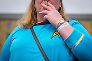 UNITED KINGDOM, London: 27 May 2016 A cosplay fan has a cigaret outside the MCM London Comic Con held all this weekend at The ExCeL Centre. The comic convention will see an estimated 150,000 cosplay and comic fans flock to the exhibition. Rick Findler / Story Picture Agency