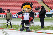 Sheffield United mascot enjoying the snow during the EFL Sky Bet Championship match between Sheffield United and Nottingham Forest at Bramall Lane, Sheffield, England on 17 March 2018. Picture by Mick Haynes.
