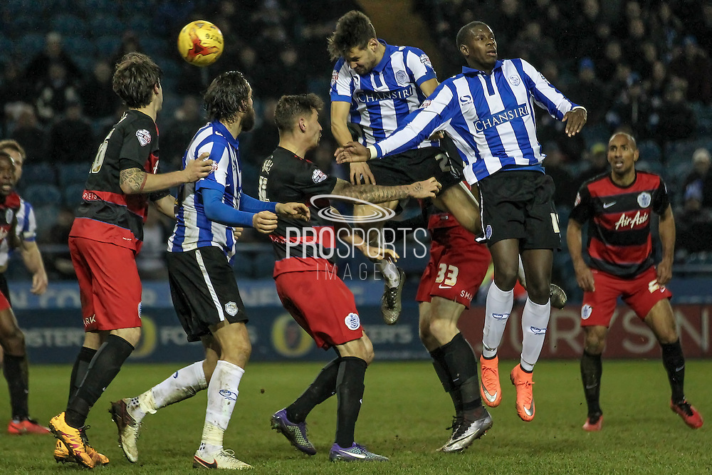 Vincent Sasso (Sheffield Wednesday) gets a header in on target during the Sky Bet Championship match between Sheffield Wednesday and Queens Park Rangers at Hillsborough, Sheffield, England on 23 February 2016. Photo by Mark P Doherty.