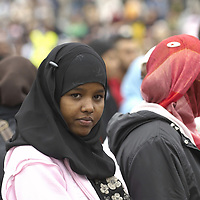 Young Muslim women ang girls wearing hijab, Eid in the Square, London, England<br />