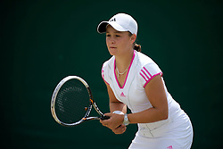 LONDON, ENGLAND - Thursday, June 30, 2011: Ashleigh Barty (AUS) in action during the Girls' Singles 3rd Round match on day ten of the Wimbledon Lawn Tennis Championships at the All England Lawn Tennis and Croquet Club. (Pic by David Rawcliffe/Propaganda)