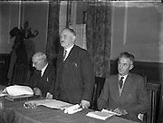 Mr M J Corry TD, Cork, Addressing the Irish Sugar Beet Growers Meeting. 10/10/1956. Martin John Corry (12 December 1890 – 14 February 1979) was a farmer and long-serving backbench Teachta Dála (TD) for Fianna Fáil. He represented various County Cork constituencies covering his farm near Glounthaune, east of Cork city. He was a founder member of Fianna Fáil in 1926, and among its first TDs after the June 1927 general election. He was returned at every election until he stood down at the 1969 election. Corry was active in farming issues, serving as Chairman of the Beet Growers' Association in the 1950s. In 1966, upon the resignation of Seán Lemass as Fianna Fáil leader and Taoiseach, Corry was among the Munster-based TDs who approached Jack Lynch to be a compromise candidate for the party leadership.