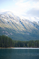 Scenic of mountains over Chilko Lake, BC, Canada.