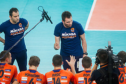 Samir Subaie, physiotherapist and Luka Slabe, head coach of ACH during volleyball match between ACH Volley and Marek Union-Ivkoni Dupnitsa (BGR) in 2nd Round of CEV Champions League on October 29, 2013 in Arena Stozice, Ljubljana, Slovenia. (Photo by Vid Ponikvar / Sportida)