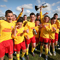 Avenue celebrate their win after the Avenue United V Newmarket U13 Cup final replay at Digifone park on sunday.<br /><br />Photograph  by Eamon Ward