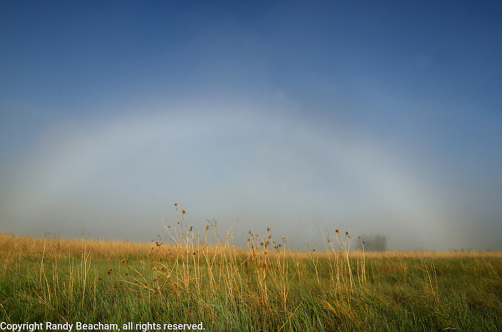 Fogbow on the Great Plains of Montana at American Prarie Reserve. South of Malta in Phillips County, Montana.