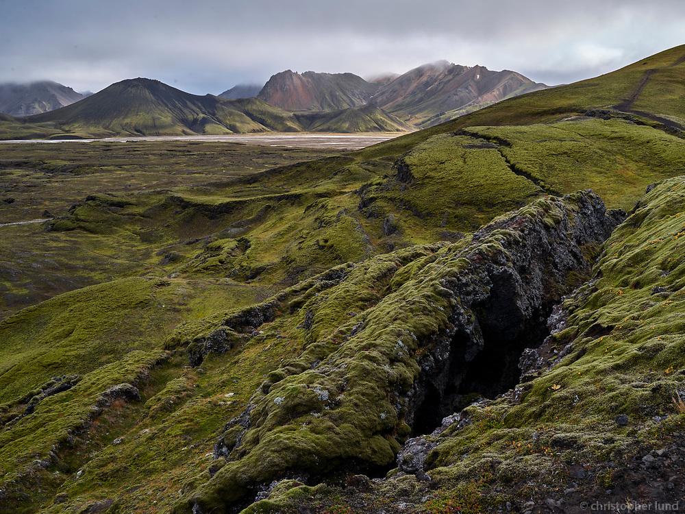 Frostastaðaháls lava field, view towards Norðurbarmur mountain. Central Highlands of Iceland.