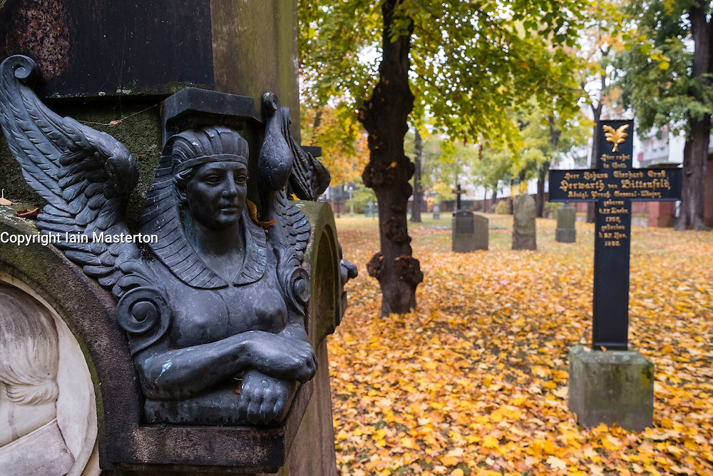 Detail of ornate grave in Military Cemetery, Alter Berliner Garnisonfriedhof on Linienstrasse in Mitte Berlin Germany