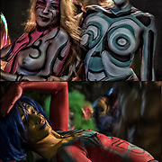 Body painting Float Village Halloween Parade, body painting can be viewed as a  form of public performance art.<br />