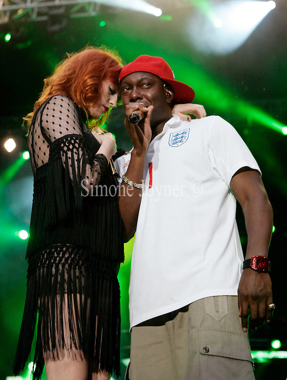 Dizzee Rascal and Florence Welch during the Capital Radio Summertime Ball at Wembley Stadium on June 6, 2010 in London, England.  (Photo by Simone Joyner)