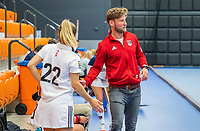 ROTTERDAM - Coach Robert Tigges (Adam)  dames Amsterdam-Laren  ,hoofdklasse competitie  zaalhockey.   COPYRIGHT  KOEN SUYK