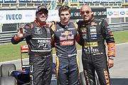 Max Verstappen op Gamma Racing Day , TT Assen. Op de foto met Tim en Tom Cornonel