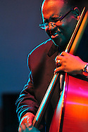 Rodney Jordan, bass, with the Marcus Roberts Trio perform in the Venetian Theater at Caramoor in Katonah New York on Aug 4, 2012.photo by Gabe Palacio