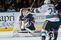 KELOWNA, CANADA - APRIL 4:  Connor Ingram #39 of Kamloops Blazers makes save against the Kelowna Rockets on April 4, 2016 at Prospera Place in Kelowna, British Columbia, Canada.  (Photo by Marissa Baecker/Shoot the Breeze)  *** Local Caption *** Connor Ingram;