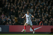 A packed stand watches Lucy Bronze (England) (Manchester City) control the ball in front of them during the Women's International Friendly match between England Ladies and Italy Women at Vale Park, Burslem, England on 7 April 2017. Photo by Mark P Doherty.