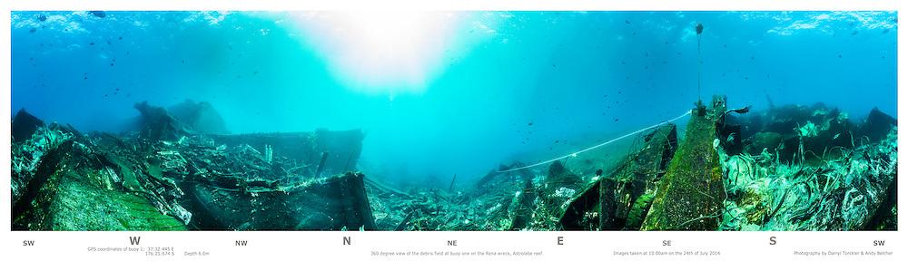 Underwater 360-degree panorama at buoy no. 1. Rena debris field 2014. Astrolabe reef. New Zealand