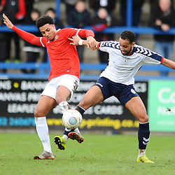 TELFORD COPYRIGHT MIKE SHERIDAN 9/3/2019 - Brendon Daniels of AFC Telford battles for the ball during the National League North fixture between AFC Telford United and FC United of Manchester (FCUM) at the New Bucks Head Stadium