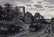 Coal mine at Nanaimo, Vancouver, Canada. Engraving, 1888.