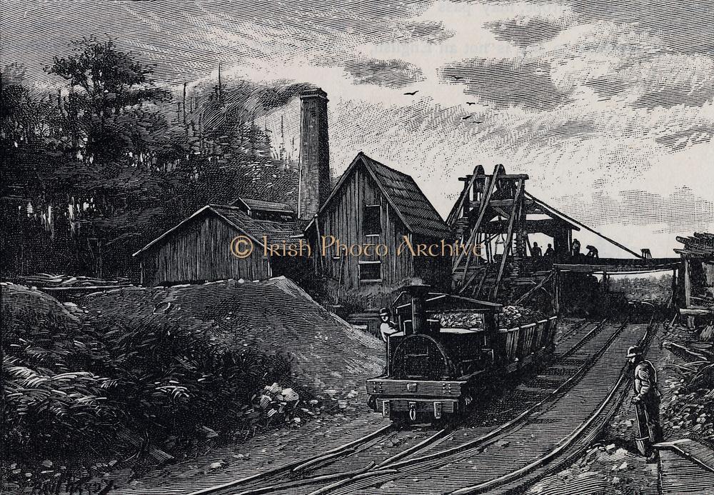 Coal mine at Nanaimo, Vancouver, Canada. Engraving, 1888.