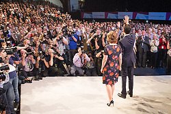 © Licensed to London News Pictures . 24/09/2013 . Brighton , UK . The Labour Party Leader , Ed Miliband , with his wife , Justine Thornton , after delivering the Leader's Speech to the conference , this afternoon (24th September 2013) . Day 3 of the Labour Party Conference in Brighton . Photo credit : Joel Goodman/LNP