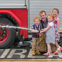 Fireman Gerard Hennesy with Darragh Hennesy from Kilkee, Laoise Muraghy from Ennis and Caoimhe O'Callaghan from Inagh