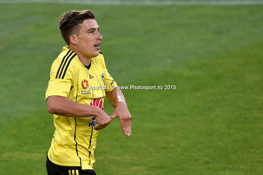 Louis Fenton of the Phoenix celebrates a goal during the A-League - Wellington Phoenix v Melbourne FC football match at Westpac Stadium in Wellington on Friday the 26 February 2016. Copyright Photo by Marty Melville / www.Photosport.nz