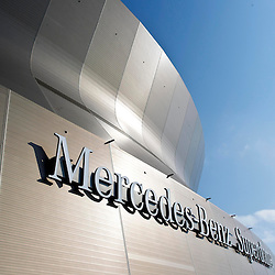 October 7, 2012; New Orleans, LA, USA; A detailed view of the exterior of the Mercedes-Benz Superdome prior to a Sunday night game between the New Orleans Saints and the San Diego Chargers. Mandatory Credit: Derick E. Hingle-US PRESSWIRE