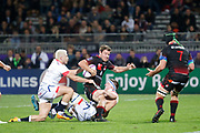 Théo Belan to Lou James O'Connor to Sale during the European Rugby Challenge Cup, Pool 2, between Lyon OU and Sale Sharks on October 20, 2017 at Matmut stadium in Lyon, France - Photo Romain Biard / Isports / ProSportsImages / DPPI