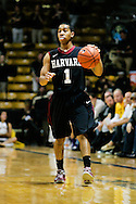 November 24th, 2013:  Harvard Crimson sophomore guard Siyani Chambers (1) brings the ball up the court in the first half of action in the NCAA Basketball game between the Harvard Crimson and the University of Colorado Buffaloes at the Coors Events Center in Boulder, Colorado