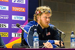 London, 03 August 2017. Ryan Crouser, 2016 Olympic shot put champion & 2017 world leader at the Team USATF press conference ahead of the IAAF World Championships London 2017 at the London Stadium. Paul Davey