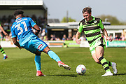 Forest Green Rovers Scott Laird(3) takes on Grimsby Town's Reece Hall-Johnson during the EFL Sky Bet League 2 match between Forest Green Rovers and Grimsby Town FC at the New Lawn, Forest Green, United Kingdom on 5 May 2018. Picture by Shane Healey.