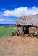 Thatched hut at the Mookini Heiau (temple), birthplace of King Kamehameha, The Big Island, Hawaii