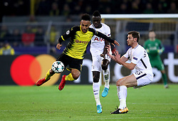 Borussia Dortmund's Pierre-Emerick Aubameyang (left) and Tottenham Hotspur's Davinson Sanchez (centre) and Tottenham Hotspur's Jan Vertonghen (right) battle for the ball