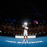 Roger Federer of Switzerland after winning the 2018 Australian Open on day 14 at Rod Laver Arena in Melbourne, Australia on Sunday afternoon January 28, 2018.<br /> (Ben Solomon/Tennis Australia)